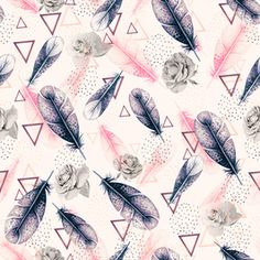 Pattern Boho Floral Feathers by mmartabc Seamless Repeat  Royalty-Free Stock Pattern