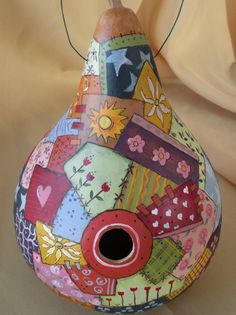 Gourd Birdhouse with Quilt Design