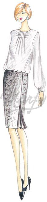 Marfy t draped neckline blouse pattern 2559 Marfy Patterns, Blouse Patterns, Clothing Patterns, Sewing Patterns, Moda Retro, Moda Vintage, Fashion Illustration Sketches, Fashion Sketches, Illustrations