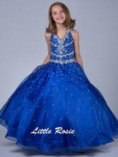 Halter Beaded Floor Length Organza Royal Pageant Dress