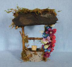 Fairy Wishing Well For Garden Dollhouse Mini Miniature Handmade Slate Roof