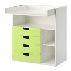 IKEA - STUVA, Changing table with 4 drawers, white/green, , This changing table grows with your child, flip the top and lower it to easily transform it into a desk or play surface.</t><t>Practical storage space within close reach. You can always keep a hand on your baby.</t><t>You can customize the space to suit your needs by adjusting the small shelves to the desired height.