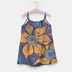 """""""Golden flowers"""" Girl's Dress, Live Heroes #flower,  #floral, #bright, #catchy, #decorative, #orange, #black, #purple, #turquoise, #golden, #fancy, #whimsical, #saturated, #colorful, #handdrawn, #art, #painting, #pastel, #softpastels, #drawing, #bold, #bright, #psychedelic, #psychedelic, #vivid, #flamboyant, #mind-blowing, #contrasty,  #flashy, #fantasy, #fantasia, #bizarre, #flowers, #imagination #kidsfashion, #kidsdress"""