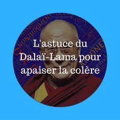 """Je vous invite à découvrir une astuce du Dalaï-Lama pour apaiser la colère. Elle est extraite du livre """"365 méditations quotidiennes"""" : """"Quelqu'un m'a écrit que lorsqu'il méditait, l'image du Dalaï-Lama lui venait à l'esprit et Relaxation Meditation, Zen Yoga, Qi Gong, Dalai Lama, Accupuncture, Happy Minds, French Quotes, Anti Stress, Positive Attitude"""