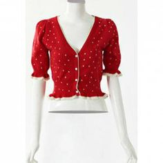 this is soooo pretty <3    $13.08 Sweet Shawl Collar Short Sleeve Polka Dot Knitting Cardigan For Women
