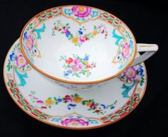 MINTON-ENGLAND-ART-DECO-TURQUOISE-TEA-CUP-AND-SAUCER-B916