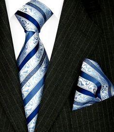 Lorenzo Cana Luxury Italian Pure Silk Tie Set with Hanky Necktie Blue Lightblue Stripes 84323