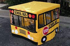 DIY Table Playhouse — eHow contributor Debbie provides very good instructions for making this school bus playhouse. Card Table Playhouse, Cardboard Playhouse, Playhouse Ideas, Diy Cardboard, Sewing For Kids, Diy For Kids, Kids Fun, Kids Play Spaces, Cabana
