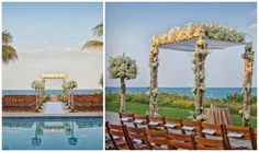 Modern Jewish Wedding at the Four Seasons Resort Palm Beach | Modern Jewish Wedding Blog A poolside ceremony with an #elegant #floral #chuppah. Photo by Jeff Kolodny Photography, Inc