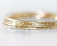 Nu Gold Bangles / Stacking Bangles / Nu Gold Bracelets / Chic Fashion Fresh Finds Hand Hammered Cute Unique Hipster Fashion Five Bangles