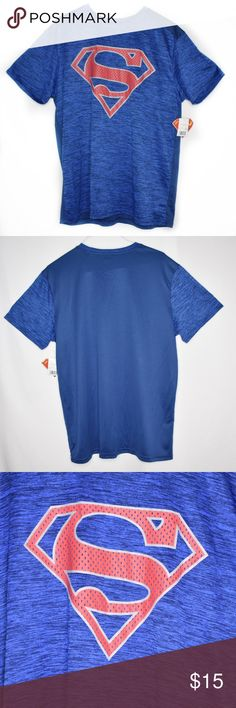 "DC Comics Superman Reflective Logo Poly Mesh Tee Pictured Superman reflective logo poly mesh tee by DC Comics in blue New with tags Size XL. Approximate measurements: Length 30.5"". Armpit to armpit 22"". AUG19-SEP24 Superman DC Comics blue poly mesh t shirt DC Comics Shirts Tees - Short Sleeve"