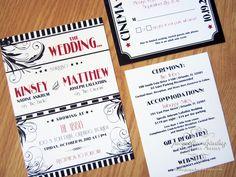 Jacqueline Dziadosz, Invitations & Design: Kinsey & Matthew's Old Hollywood Wedding Invitations