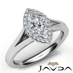 Marquise Cut Diamond Engagement GIA H VS1 Halo Pre Set Ring 18K White Gold 0 7ct   eBay
