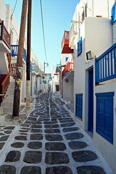 Mykonos main street, Greece