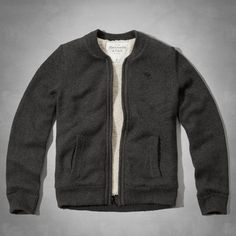 DOUGLASS MOUNTAIN SHERPA-LINED SWEATER | Dark heather gray | US$198, flagship exclusive | Classic bomber style with full zipper closure, ribbed trims, and a crew neckline, supersoft sherpa lining, front pockets, moose embroidery at left chest, Classic Fit, Imported; 57% Cotton / 28% Acrylic / 15% Polyester | Abercrombie.com