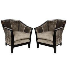 Art Deco Cubist Club Chairs / France, c. 1930