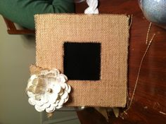 Burlap chalkboard picture frame