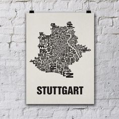 Stuttgart Siebdruck Poster Typografie von Buchstabenorte auf DaWanda.com