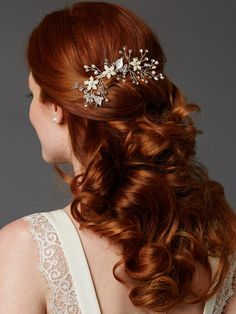 Lovely Crystal and Pearl Vine Bridal Comb in Silver,  Gold or Rose Gold -- Affordable Elegance Bridal -