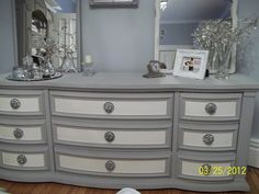 Hmmm would be awesome on our buffet cabinet Love color combo. DIY: Lindsey of Better After shares a wonderful piece done by Suzy from Simply Vintageous finished in Old White & Paris Grey Chalk Paint® decorative paint by Annie Sloan. Refurbished Furniture, Paint Furniture, Repurposed Furniture, Shabby Chic Furniture, Furniture Projects, Custom Furniture, Furniture Making, Furniture Makeover, Bedroom Furniture