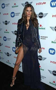 Model Alessandra Ambrosio attends the Warner Music Group 2013 Grammy Celebration Presented By Mini at Chateau Marmont on February 2013 in Los Angeles, California. Alessandra Ambrosio, Jennifer Fisher, Warner Music, Ralph & Russo, Star Fashion, Womens Fashion, Glamour, Victoria Dress, Couture