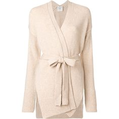 Forte Forte wrap cardigan ($737) ❤ liked on Polyvore featuring tops, cardigans, nude, wrap style top, cardigan top, wrap cardigan, pink top and wrap top