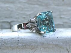 Vintage Aquamarine and Diamond Ring in 14K White Gold - 6.60ct.                         – G. Adore