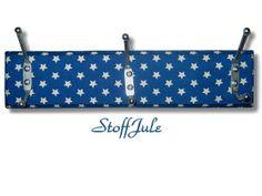 Garderobe 3er Hakenleiste Sterne Blau Weiß von StoffJule auf DaWanda.com Nursery Storage, Louis Vuitton Damier, Etsy, Pattern, Stars, Blue, Patterns, Model, Swatch