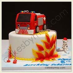Like the layers of flame colors on this one. Truck Birthday Cakes, Birthday Cakes For Teens, Birthday Invitations Kids, Birthday Ideas, Cake Decorating For Kids, Fireman Cake, Fireman Birthday, Cupcakes, Colorful Cakes
