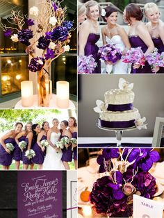 Purple wedding ideas. I think we decided on purple, grey and black for our colors. Love those together.