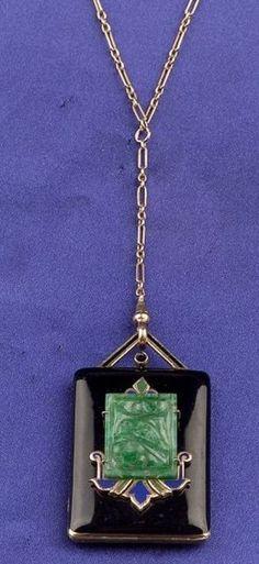 Art Deco 14kt Gold, Jadeite and Enamel Pendant/Locket, Carter Howe & Co. | Sale Number 2302, Lot Number 188 | Skinner Auctioneers