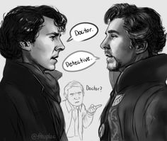 Sherlock and Doctor Strange face to face!D I'm really bummed about the last episode of Sherlock -the whole season, in fact. Sherlock Bbc, Benedict Sherlock, Sherlock Fandom, Fan Art Sherlock, Sherlock Cartoon, Jim Moriarty, Sherlock Quotes, Sherlock Holmes Funny, Sherlock Comic
