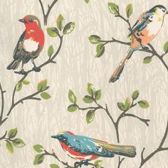 Wallpaper | Garden Birds Wallpaper | CathKidston