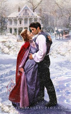 Kisses in the snow. Romance Arte, Fantasy Romance, Romance Manga, Romance Movies, Historical Romance Authors, Photo Star, Romance Novel Covers, Romantic Paintings, Fantasy Love