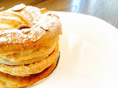 Classic Paris Brest freshly baked in-house.  Choux ring with praline cream filling. One of a kind in Vancouver!