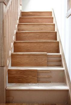 icu ~ Pin on Stairs ~ 8 Nov Stair Klad Conversion System - String Veneer Redo Stairs, House Stairs, Painted Stairs, Wooden Stairs, Painted Staircases, Stair Klad, Stair Renovation, Staircase Remodel, Staircase Makeover