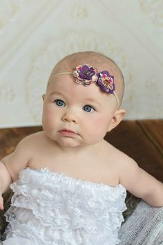 Brenna Purple & Tan Fabric Flowers Headband by BrittneyLeona