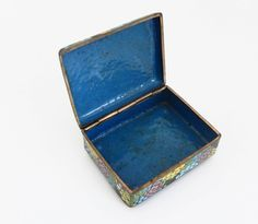 Vintage Cloisonné Cigarette Box and Match Holder with Floral Motif For Sale at 1stdibs
