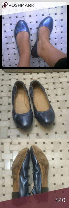 💙 M. GEMI 💙 Italian Leather Flats 38.5 These are a 38.5 but fit true to size US 8.Gently used M. GEMI Italian Leather Flats!  The soft leather molds perfectly to your unique foot shape. These still have a lot of life left.   Outer sides, back  and interior bottom are in excellent condition. There is a scuff on front edge that I tried to show in picture 4. Can't be seen at all when wearing.   Size Euro 38.5 these are more of a metallic dark blue color. Super cute! M. Gemi Shoes Flats…