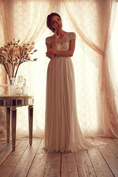 Wholesale Beach Wedding Dress - Buy Gossamer Collection Beach V-neck Sheer Neck Capped Lace Chiffon Sweep Train Wedding Dress Bridal Gown Anna Campbell Custom Made, $137.04 | DHgate