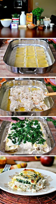 White Cheese and Chicken Lasagna--Chicken, cheese, spinach