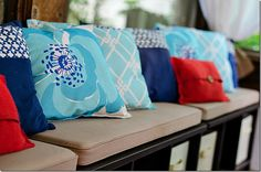 the screen porch is open - It All Started With Paint Screened In Porch, Front Porch, Back Patio, Fourth Of July, Interior Inspiration, Red And Blue, Throw Pillows, Turquoise, Rustic