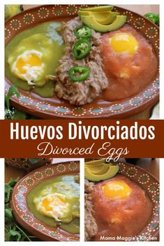 Huevos Divorciados, or Divorced Eggs. This classic Mexican breakfast screams Sunday brunch. Two eggs separated by refried beans and drenched in red and green salsa. There& no custody battle with this dish. Healthy Meals For Two, Easy Healthy Breakfast, Quick Easy Meals, Healthy Recipes, Easy Recipes, Mexican Breakfast Recipes, Brunch Recipes, Mexican Food Recipes, Mexican Dinners