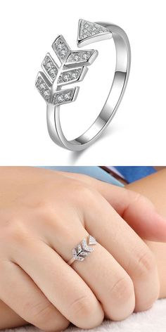So so cute  ring ! Sweet Love Arrow Silver Ring Diamond Feather Silver Open Ring for big sale ! #ring #cute #silver #love #jewelry #feather