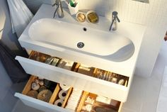 IKEA - BRÅVIKEN, Single wash-basin, white, years of guarantee. Unique water trap design gives room for a full sized drawer. Strainer and water-trap are included. Bathroom Kids, Wash Basin, Ikea Catalog, Ikea, Sink Cabinet, Bathroom, Ikea Sinks, Ikea Bathroom, Sink