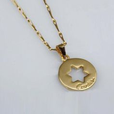 Cartier Gold Plated Necklace in Pierced Metal With Star Motif