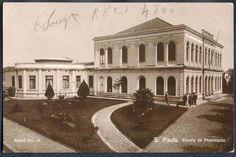 São Paulo - Escola de Pharmacia - Bilhete Postal antigo original, nº 13, editado pela Casa Garaux, 1920.