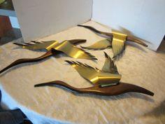 "Mid Century Modern Wall Art 22"" long 3 Flying Geese Teak & Brass Ducks"