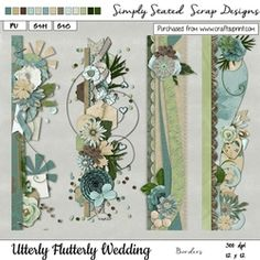 - Pack of 4 Page Borders for the Utterly Flutterly Wedding kit. As this is a digita. A4 Paper, Fabric Paper, Wedding Borders, Page Borders, Paper Texture, Blue Bird, Damask, Card Stock, Scrapbook