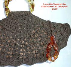 60s Bakelite Crochet Handbag Kelly Bag Handmade by MushkaVintage3